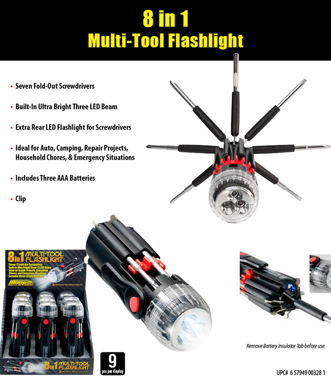 8 in 1 Multi-Tool Flashlight 9 pc Sale Sheet - Screwdrivers, LED, Clip