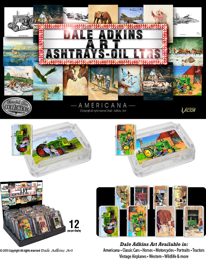 Dale Adkins Americana Farms Ashtrays and Victor Pocket Oil Lighter Combo 12 pcs