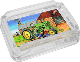 Dale Adkins Americana Farms Glass Ashtray - Am Too Big Enough, Tractor, Father and Son