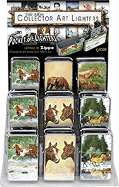 Dale Adkins Horses Victor Chrome Pocket Oil Lighter 18 pc Display