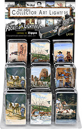 Dale Adkins Western Victor Chrome Pocket Oil Lighter 18 pc Display, Horses, Cattle, Cowboys