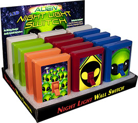 Alien 6 LED Night Light Wall Switch 15 pc Display - No Wiring Needed, Alien Head Crossing, Fret, Big Grin, Invasion Group, UFO