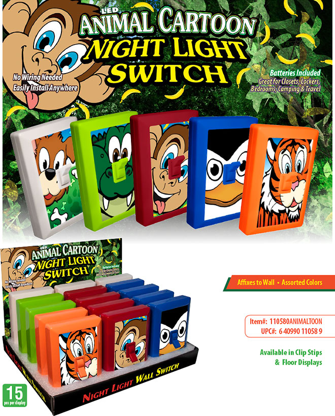 Animal Cartoon 6 LED Night Light Wall Switch Sale Sheet 15 pc/60 pc Display - No Wiring Needed, Batteries Included, Item 110580ANIMALTOON