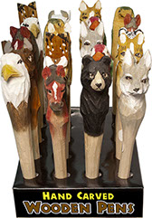 Wood Carved Animal Pens 20 pc Display - Hand Carved, Hand Painted, Bear, Buffalo, Cat, Eagle, Horse, Parrot, Tiger, & Wolf