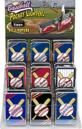 Baseball Victor Pocket Oil Lighter 18 pc Display, Item 80618BASEBALL, Boston, Chicago, Kansas City, New York, St. Louis, Toronto