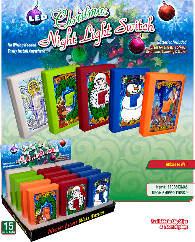Christmas 6 LED Night Light Wall Switch Sale Sheet - No Wiring Needed, Batteries Included, Angel, Reindeer, Rudolph, Santa, Snowman, Item 110580