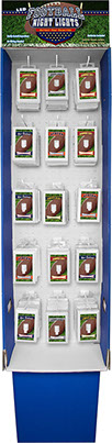 Football 6 LED Night Light Wall Switch 60 pc Floor Display/Power Wing, Item 110580FTBLL - No Wiring Needed, Batteries Included, Assorted Colors