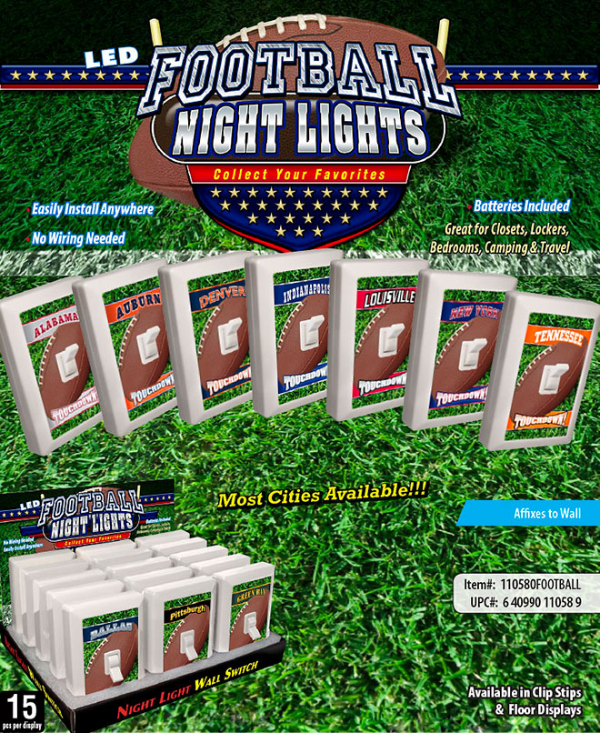 City Football 6 LED Night Light Wall Switch Sale Sheet - No Wiring Needed, Batteries Included, Most City and States Available