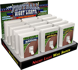 City Football 6 LED Night Light Wall Switch 15 pc Display - No Wiring Needed, Smile, Most City & States Available, Dallas, Pittsburgh, Green Bay
