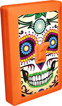 Day of the Dead Calavera Sugar Skull 6 LED Night Light Wall Switch 02 Orange Shell