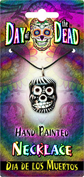 Day of the Dead Clay Skull Necklace Card – Hand Painted Sugar Skull, Calavera Item 62324
