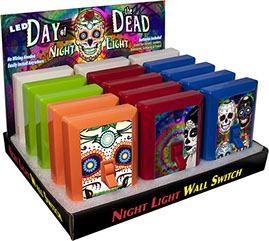 Day of the Dead 6 LED Night Light Wall Switch 15 pc Display - No Wiring Needed, Sugar Skull, calaveras
