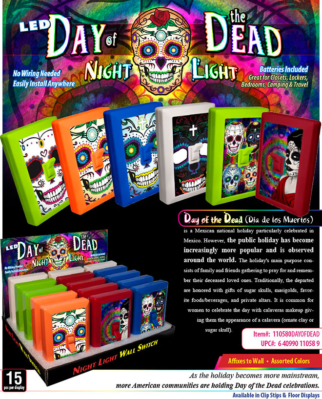Day of the Dead 6 LED Night Light Wall Switch Sale Sheet 15 pc  No Wiring Needed, Batteries Included, Sugar Skull, calavera Item 110580DAYOFDEAD