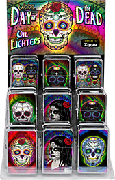Day of the Dead Victor Chrome Pocket Oil Lighter 18 pc Display, Sugar Skull, calavera Item 89911