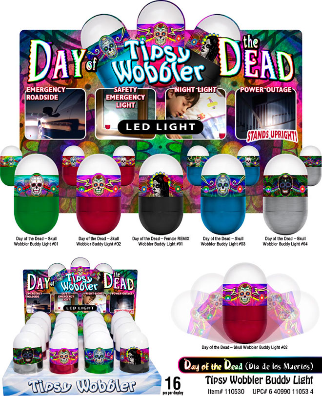 Day of the Dead LED Tipsy Wobbler Sale Sheet 16 pc Emergency Light, Stands Up, Batteries Included, Sugar Skull, calavera Item 110530DAYOFDEAD