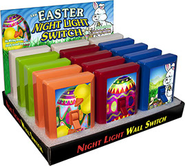 Easter 6 LED Night Light Wall Switch 15 pc Display - No Wiring Needed, Batteries Included, Affixes to Wall, Item 110580EASTER Bunny, Egg, Duck
