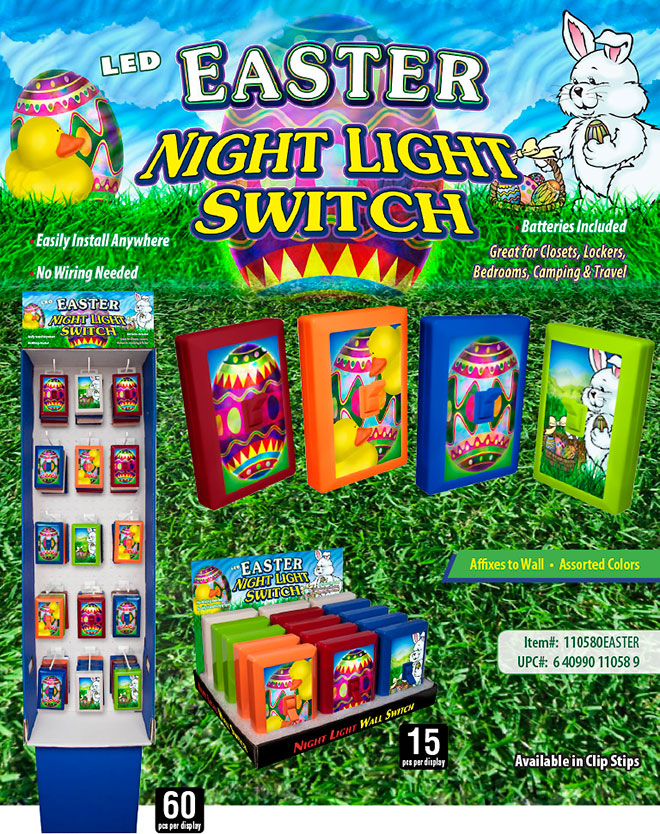Easter 6 LED Night Light Wall Switch Sale Sheet 15 pc/60 pc Display - No Wiring Needed, Batteries Included, Affixes to Wall,  Item 110580EASTER
