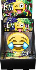 Emoji Magnet 4 inch Circle 2 pack 18 pc Display - Item 71212, Smiley Open Mouth, Heart Eyes, Joy with Tears, Pile of Poo, Tongue Stuck Out Wink