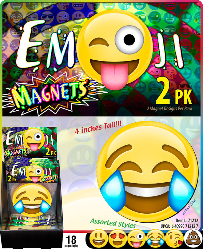 Emoji Magnets Sale Sheet - Round 4 inch, Circle, 2 Pack, Item 71212, Smiley, Heart Eyes, Joy w/ Tears, Poo, Tongue Stuck Out Wink