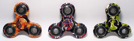 Designer Hand Fidget Spinners - Flames - Fire, Candy Sprinkles, Camouflage