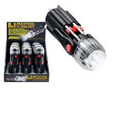 8 in 1 Multi-Tool Flashlight 9 pc Display - Screwdrivers, LED, Clip