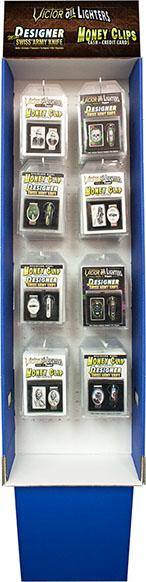 Gift Box Combo 48 pc Floor Display, Item# 110420, Victor Pocket Oil Lighter, Mini Swiss Army Knife, Money Clip