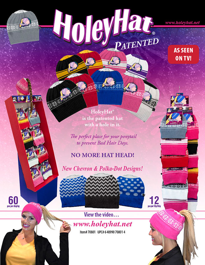 HoleyHat Sale Sheet, Snowflake, Stripes, Chevron, Polka-Dots, Floor Display, Clip Strip, As Seen On TV