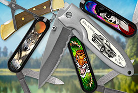 Knives, Knife: Wood Brass Lock, Wolf, Tattoo, Day of the Dead Female, Mini Swiss Army Knife, Adkins Accublade Ford Mustang