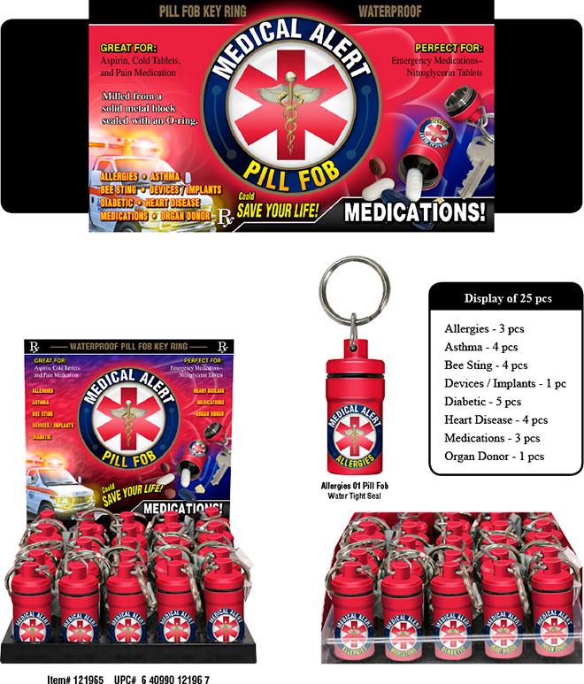 Medical Alert Pill Fob Key Ring 25 pc Display Allergies, Asthma, Bee Sting, Devices/Implants, Diabetic, Heart Disease, Medications, Organ Donor