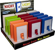 6 LED Night Light Wall Switch 15 pc Counter Display, Item 110580 - No Wiring Needed, Batteries Included, Assorted Colors