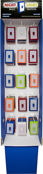 6 LED Night Light Wall Switch 60 pc Floor Display/Power Wing, Item 110580 - No Wiring Needed, Batteries Included, Assorted Colors