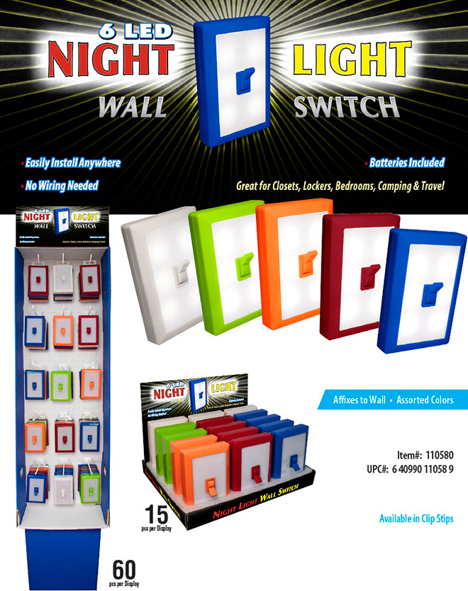 6 LED Night Light Wall Switch Sale Sheet 15 pc Counter Display, 60 pc Floor Display - No Wiring Needed, Batteries Included, Assorted Color