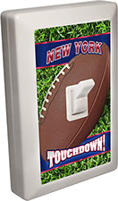 New York Blue City - State Football 6 LED Night Light Wall Switch with Touchdown