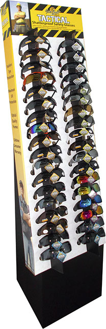 Tactical Safety Glasses Floor Display - 36 pc, Shatterproof