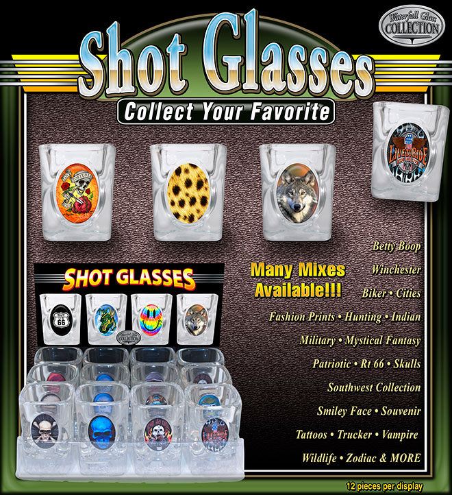 Shot Glasses with Oval Insert Designs – 12 pc Display Trays