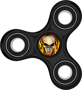 Skull Hand Fidget Spinner Sticker, Decal, Flaming Skull, Flames, Black Spinner