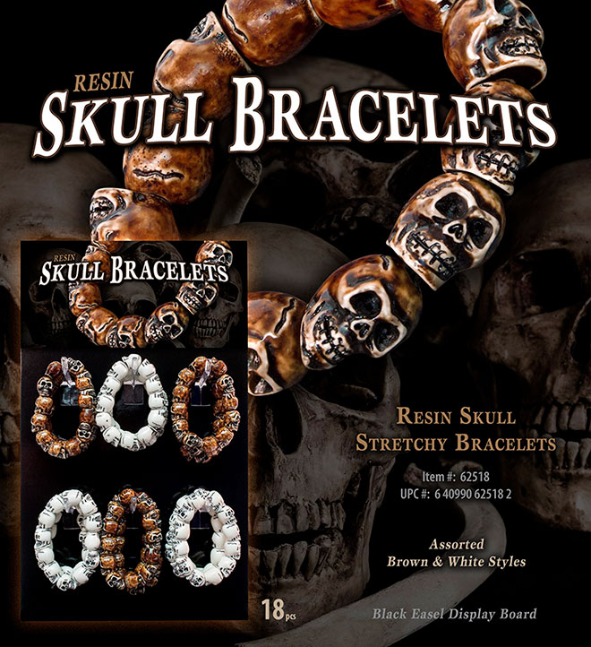 Skull Resin Stretchy Bracelets Sale Sheet 18 pc, Display, Item 62518, UPC 6 40990 62518 2
