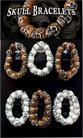 Skull Resin Stretchy Bracelets Display 18 pc, Item 62518, UPC 6 40990 62518 2