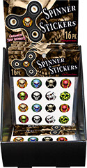 Skull Fidget Spinner Sticker 16 pack 18 pc Display, Item 71714SKULL, Flames, Demon, Camo - Camouflage, Cross Bones