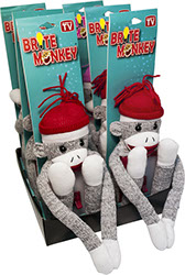 Brite Sock Monkey Plush LED Night Light Switch 6 pc Display - Batteries Included, Item Red Nii42217, Pink Nii42218