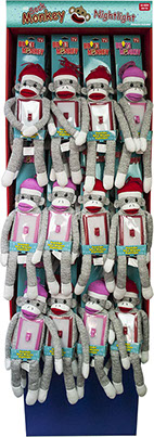 Brite Sock Monkey Plush LED Night Light Switch Floor Display 36 pc Display - Batteries Included, Item Red Nii42217, Pink Nii42218
