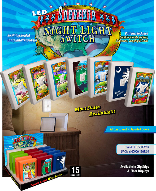Souvenir 6 LED Night Light Wall Switch Sale Sheet - No Wiring Needed, Batteries Included, Most States Available, Florida, Iowa, Tennessee