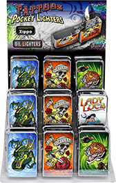 Tattoos Victor Chrome Pocket Oil Lighter 18 pc Display, Dragon, Love Tortures the Soul Skull, Rose, Dagger Heart, Tiger, Lady Luck