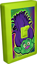 Trolls of Fun 6 LED Night Light Wall Switch Green Troll with Purple Hair