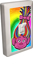 Trolls of Fun 6 LED Night Light Wall Switch Troll with Rainbow Hair