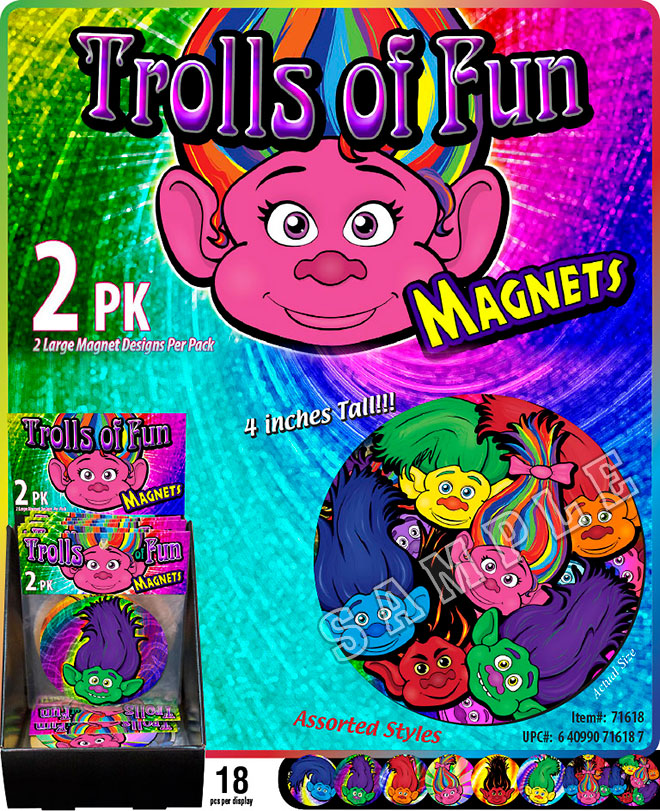 Trolls of Fun Magnets Sale Sheet - Round 4 inch, Circle, 2 Pack, Item 71618,