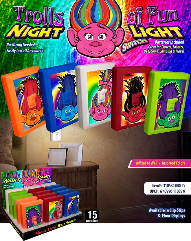 Trolls of Fun 6 LED Night Light Wall Switch Sale Sheet - No Wiring Needed, Batteries Included, Rainbow - Item #: 110580TROLLS