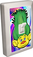 Trolls of Fun 6 LED Night Light Wall Switch Yellow Troll with Green Hair