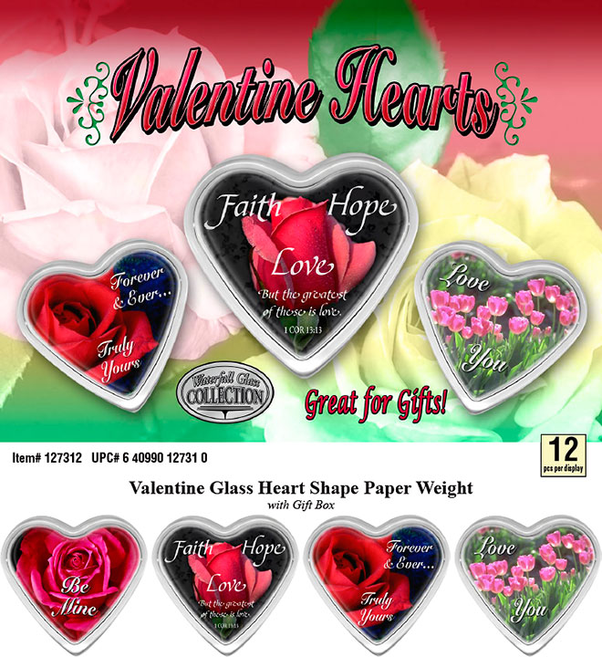 Valentine Hearts Glass Paperweight 12 pc Display Sale Sheet - Faith, Hope, Love, Rose, Tulip, Flowers, Item 127312 Waterfall Glass Collection
